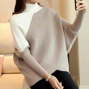 Radiez White And Brown Patchwork Long Batwing Sleeve Sweater