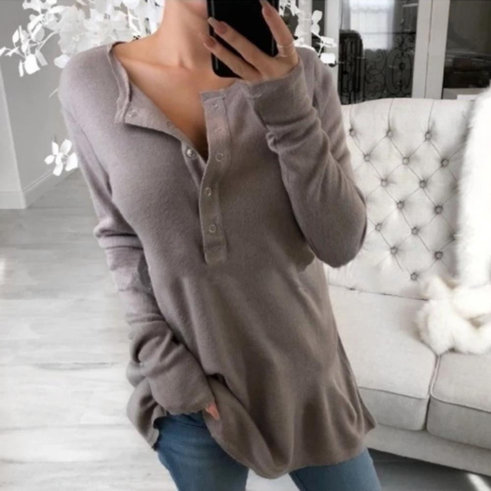 Radiez Fashion Plain V-neck Long Sleeve Sweatshirt