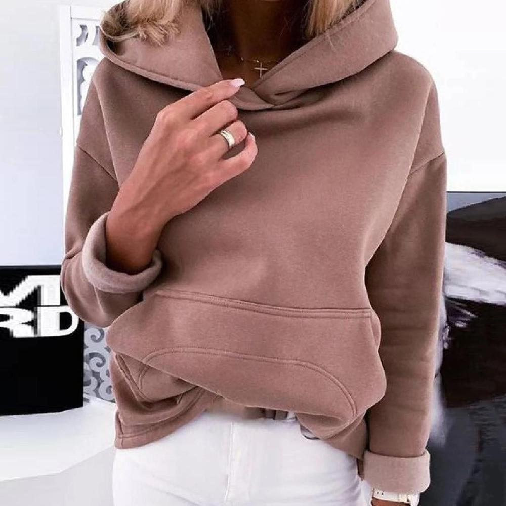 Radiez Casual Plain Long Sleeve Sweatshirt