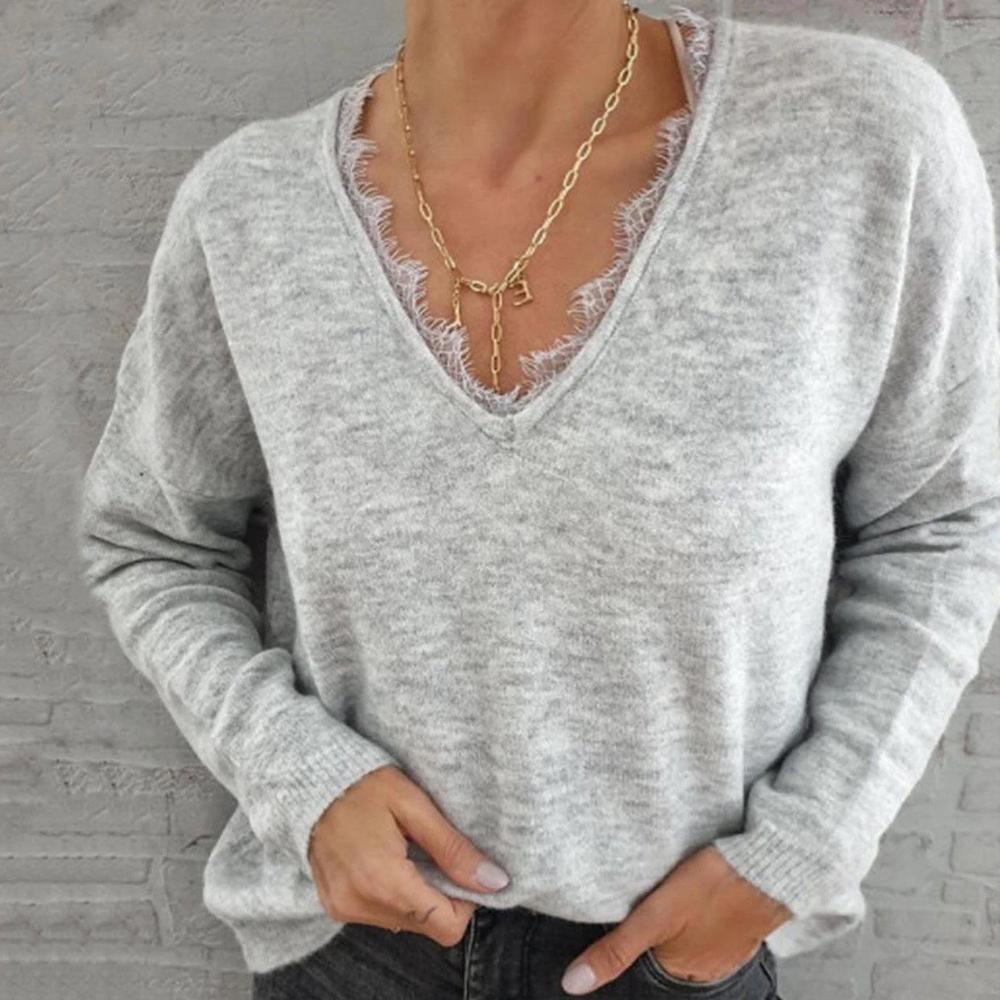 Radiez Lace V-Neck Casual Sweater