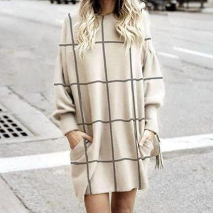 Radiez Classy Round Neck Long Sleeve Plaid Mini Dress