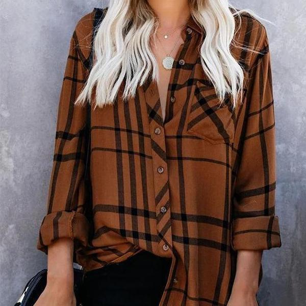 Radiez Fall Casual Caramel Plaid Long Sleeve Blouse