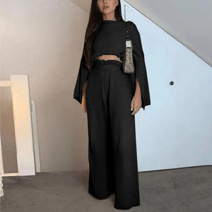 Radiez Round Neck Long Split Sleeve With Wide Leg Pant Two-Piece Set