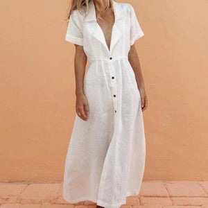 Radiez Retro V-Neck Short Sleeve Shirt Dress