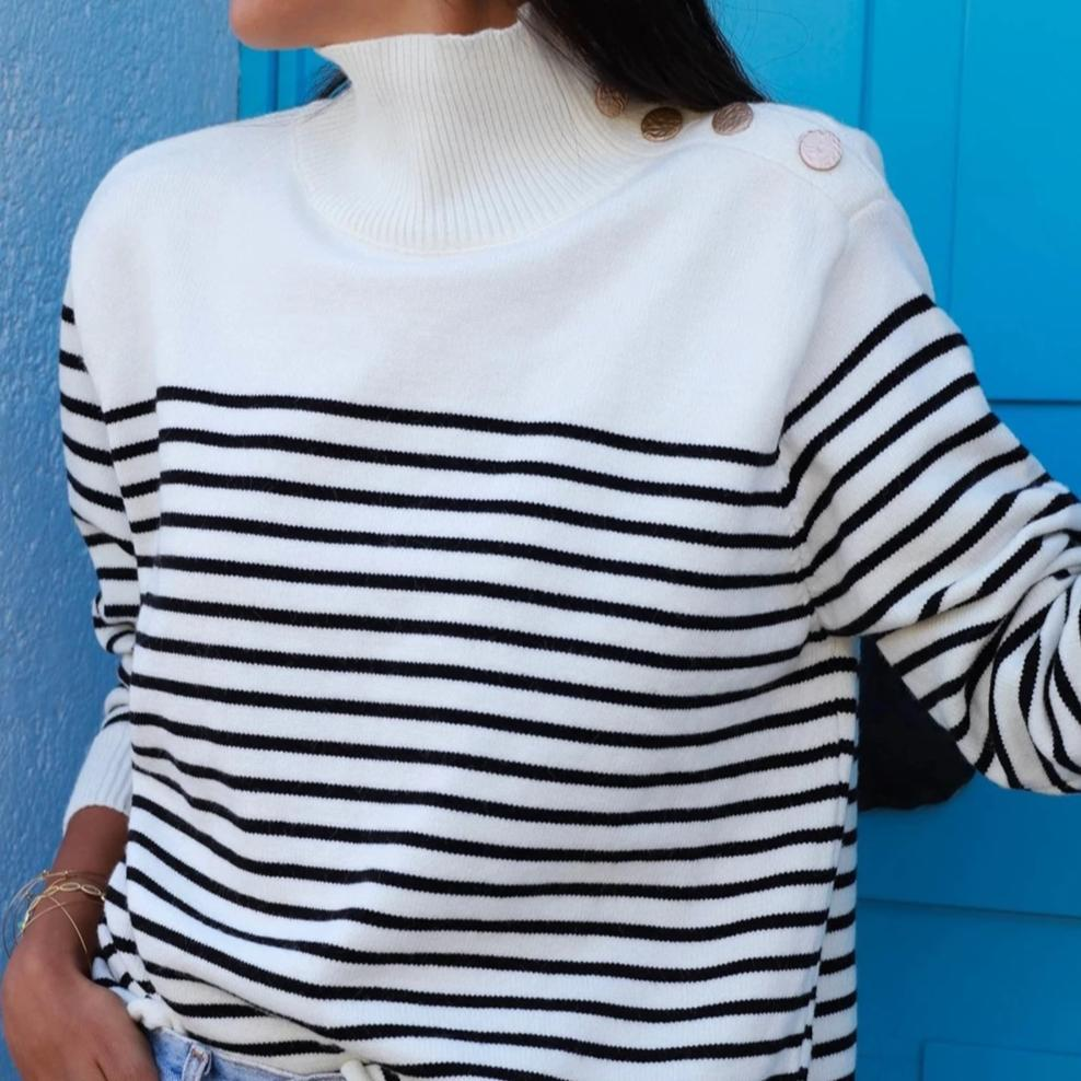 Radiez High Neck Striped Knitted Sweater