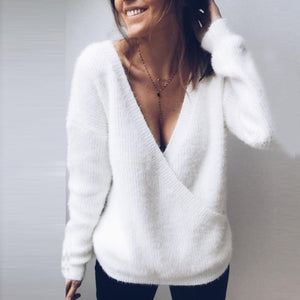 Radiez Deep V-Neck Long Sleeve Pure Color Sweater