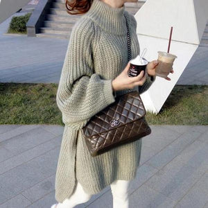 Casual Long Sleeve Loose High Neck Sweater Mini Dress