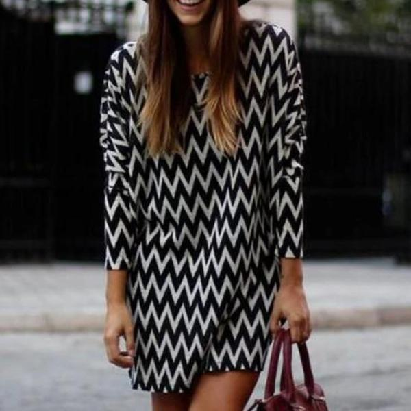 Radiez Black Striped Print Long Sleeve Fashin Casual Loose Chiffon Mini Dress