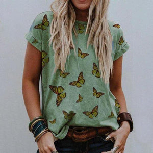 Radiez Chic Butterfly Printed Round Neck T-Shirt