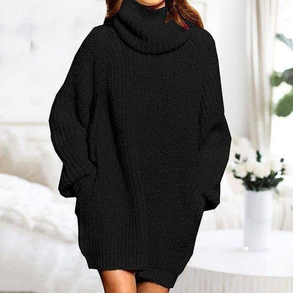 Radiez Loose Oversize Turtleneck Long Pullover Sweater Dress