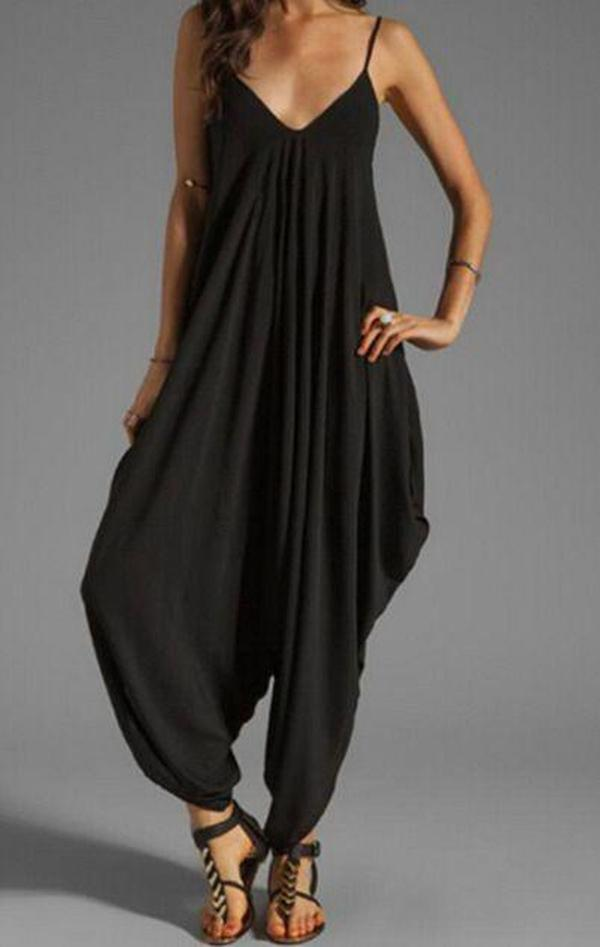 Fashion Deep V-Neck Loose Jumpsuit
