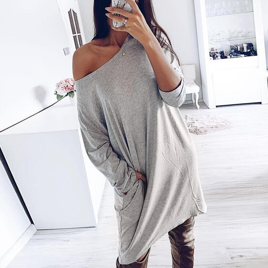 Casual Plain Round Neck Long Sleeve Mini Dress