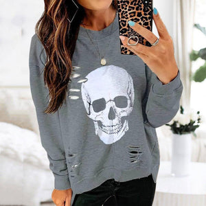 Radiez Casual Printed Round Neck Long Sleeve Sweatshirt
