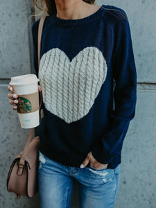Radiez Heart Pattern Long Sleeve Knit Sweater