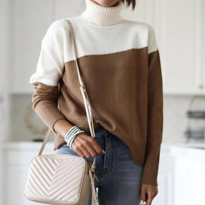 Radiez Classy High Neck Long Sleeve Color Block Sweater