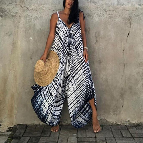 Radiez Chic Sleeveless Printed Loose Wide Leg Vacation Jumpsuit