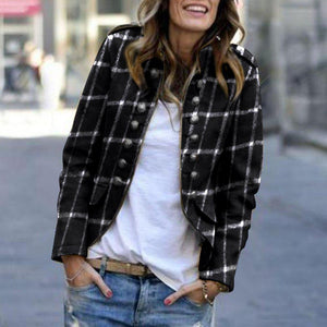 Radiez Fashion Plaid Printing Long-Sleeved Jacket