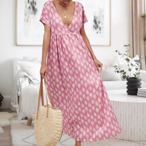 Radiez Lovely Pink Printed Flowing Short Sleeve Maxi Dress