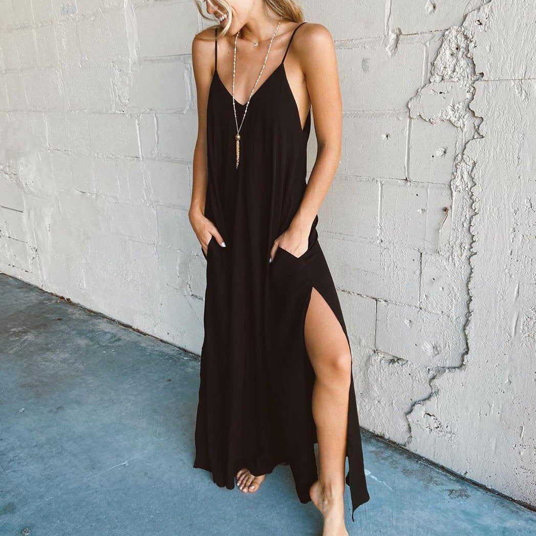 Radiez Simple Sexy Black Sling Maxi Dress