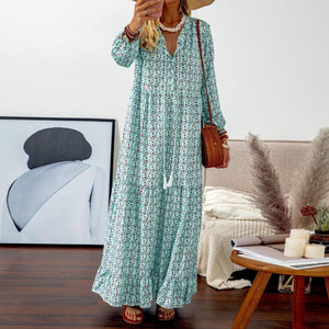 Radiez Tassel Long Sleeve Printed Maxi Dress