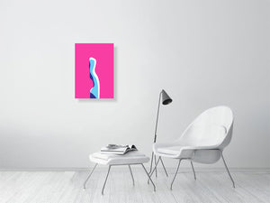 Figure In Blue on Pink