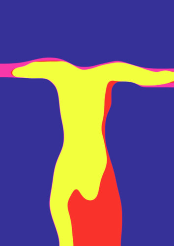Red & Yellow Dancer on Dark Blue