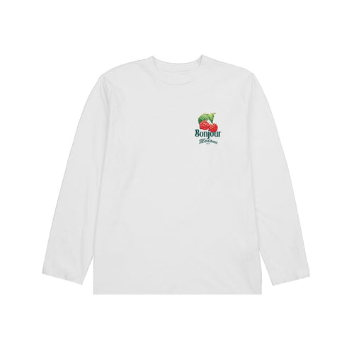 Bonjour Madame - Long Sleeve Raspberry Tee - White