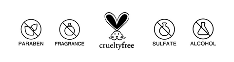 cruelty free, paraben free, fragrance free, sulfate free, alcohol free