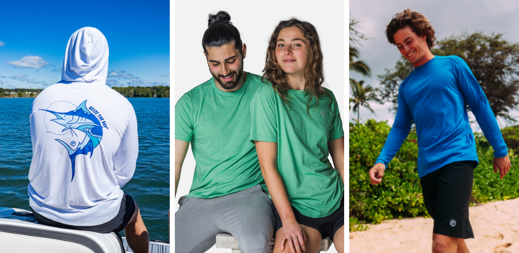 Three images featuring EcoBloc and EcoBlend by Vapor Apparel