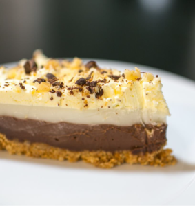Chocolate Haupia Pie with a Graham Cracker & Macadamia Nut Crust
