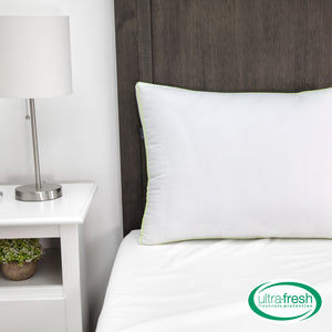 Ultra-Fresh Luxury Gusseted Antimicrobial Pillows (Set of 2) with Nanotex Coolest Comfort Technology
