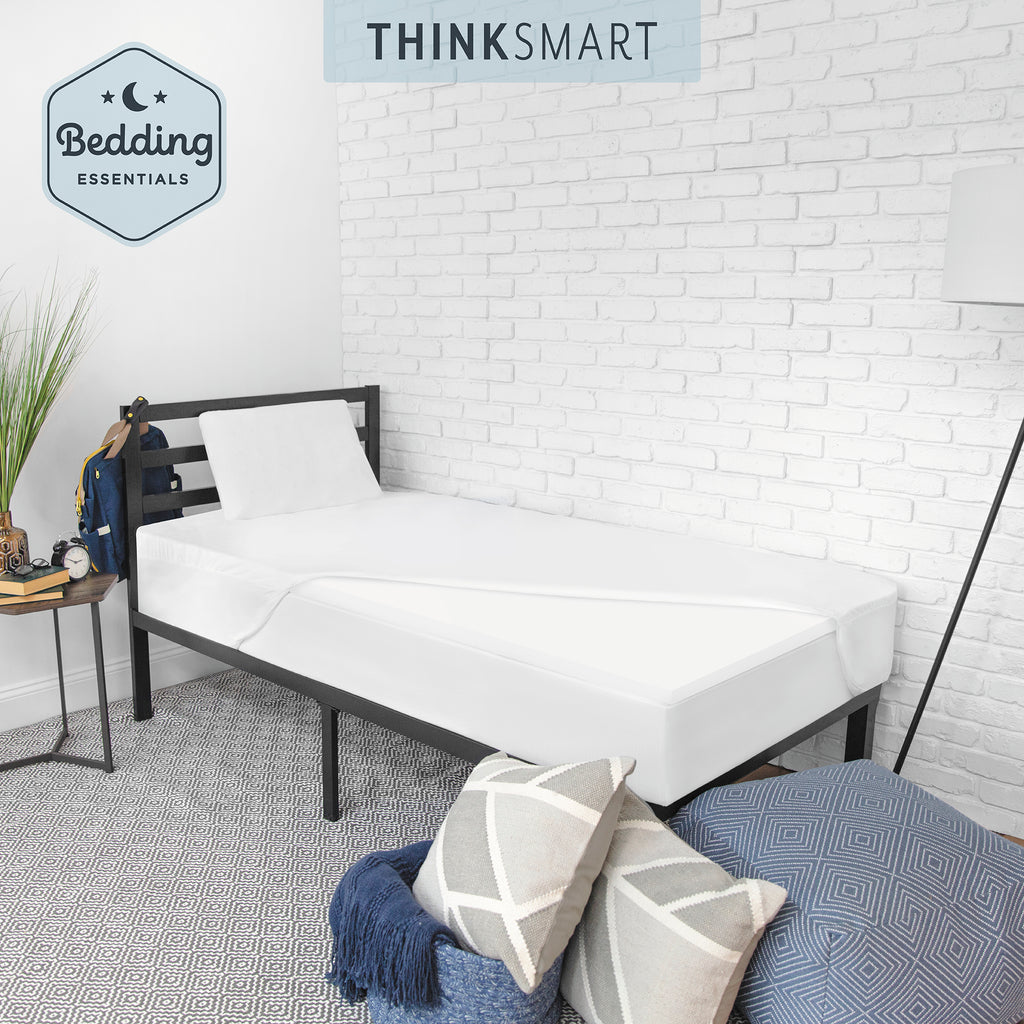 ThinkSmart by SensorPEDIC Bedding Essentials Bundle with Mattress Topper, Memory Foam Pillow, and Mattress Protector
