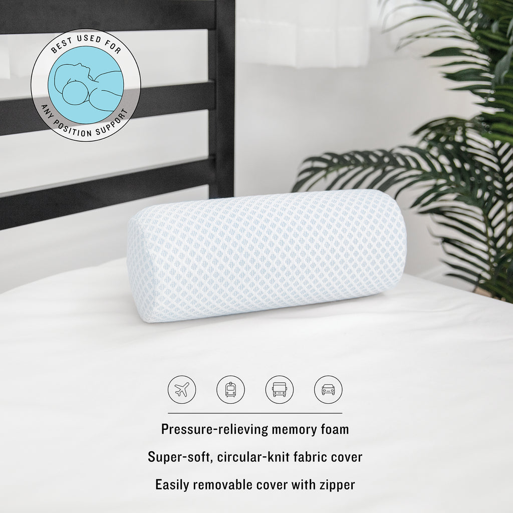 Travel Collection On-The-Go Neck Roll Conforming Memory Foam Pillow