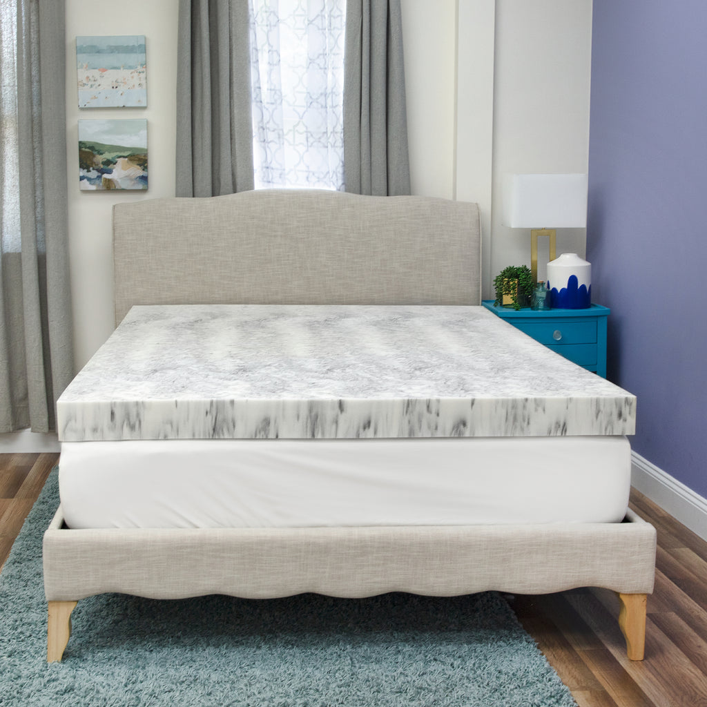 4-Inch Bamboo Charcoal Infused Memory Foam Mattress Topper