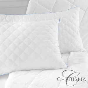 Charisma Gel-2 Hybrid Jumbo Bed Pillow with Gel-Infused Memory Foam Clusters and Cooling Gel Beads - 2 Pack