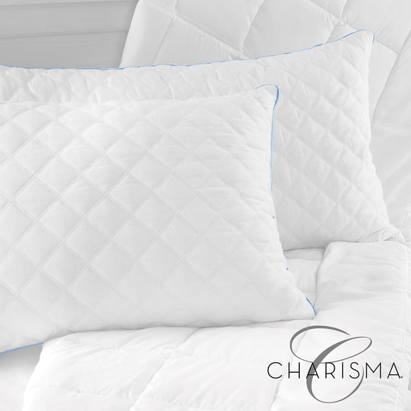 Charisma Gel-2 Hybrid Bed Pillow with Gel-Infused Memory Foam Clusters and Cooling Gel Beads