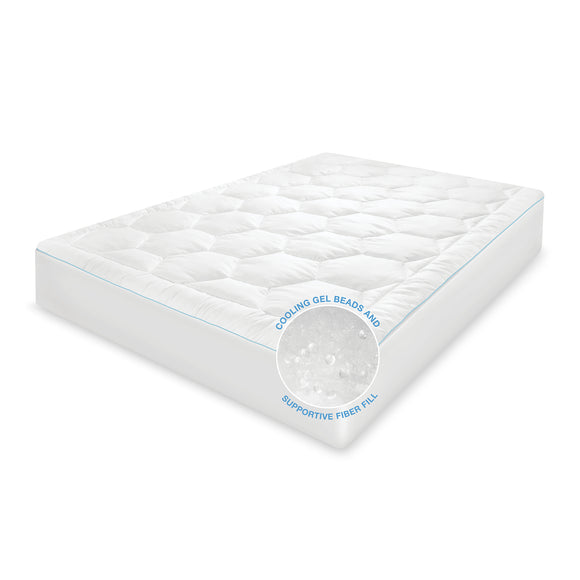 CoolFusion Mattress Pad with Cooling Gel Fiber and Gel Beads