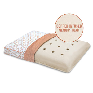 Classic Gusseted Memory Foam Bed Pillow with Copper Infused Cover