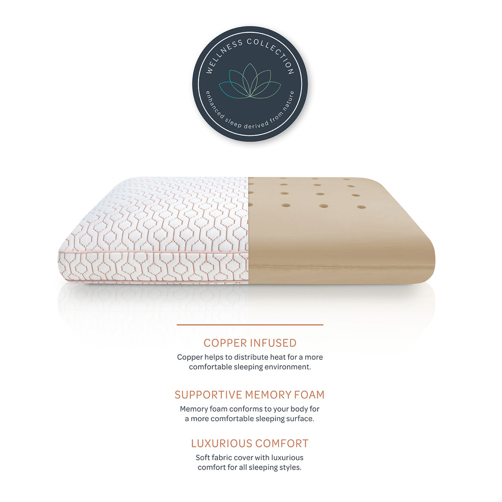 Wellness Collection Copper Infused Memory Foam Bed Pillow