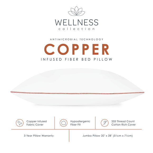 Wellness Collection Fiber Bed Pillow with Copper Infused Fabric Cover