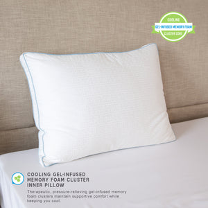 Gel Core Gel-Infused Memory Foam Clusters & Gel Fiber Bed Pillow