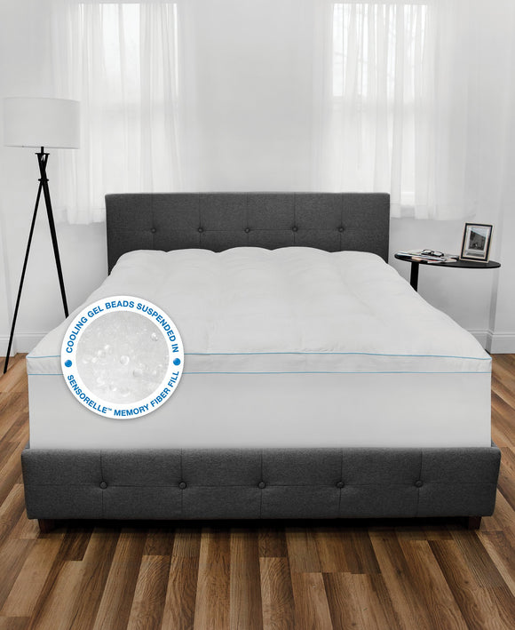 Cooling Gel Fusion Mattress Topper with Cooling Gel Beads and Memory Fiber Fill
