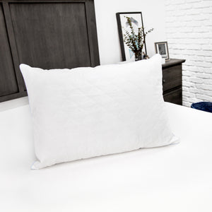 Fiber Bed Pillow with 100% Cotton Fabric and 250 Thread Count 100% Cotton Zippered Pillow Cover