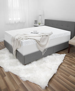 "Luxury Cooling 4.5"" Gel-Infused Memory Foam Quilted Mattress Topper with Built-In iCOOL Technology System"
