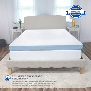 "4"" Supreme Gel Cooling Transcend Memory Foam Bed Topper"