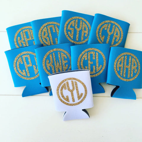 monogram can hugger, glitter monogram can cooler, vine monogram, circle monogram, bachlorette party favors, wedding favors, BBQ coolers