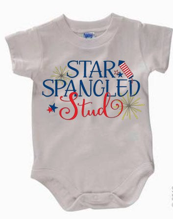 Boys Star Spangled Stud bodysuit