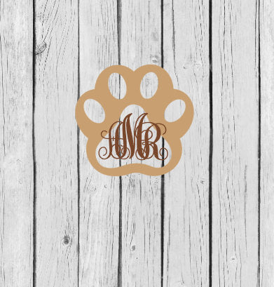 dog paw name or monogram decal
