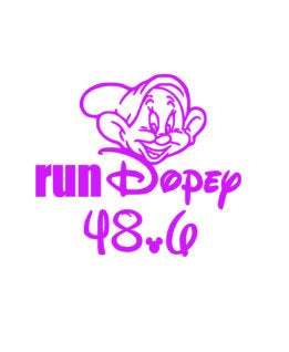 run dopey decal, marathon decal, 48.6 decal, running sticker,  half marathon decal, run disney, princess decal, princess run, 26.2 decal