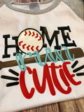 Girls baseball shirt, ruffle shirt, girls raglan, home run cutie, girly baseball, little sister baseball shirt, sports shirt, baseball tee